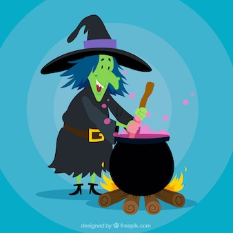 Smiley czarownica gotowania z puli