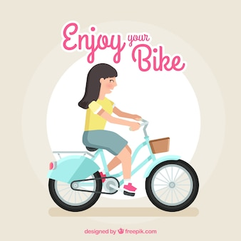 Smiley kobieta jazda na rowerze z płaskim wzorem