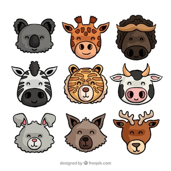 Smiley ręcznie rysowane twarzy zwierząt