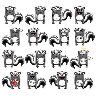 Smiley skunks indywidualnie pogrupowane w celu łatwego kopiowania i wklejania.