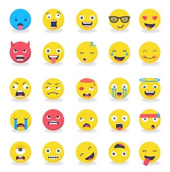 Smileys emotikony nastrój kolorowy zestaw płaski