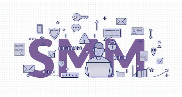 Smm, marketing w mediach społecznościowych. koncepcja transparent z charcerem, literami i ikonami. kolorowa ilustracja na tle półtonów.