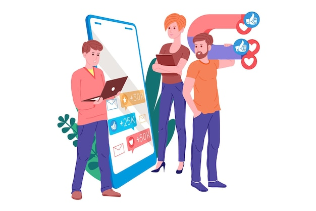 Smm, marketing w mediach społecznościowych, promocja cyfrowa w internecie, sieci społecznościowe. baner agencji smm. kobieta i mężczyzna przyciągają serca i polubienia magnesem. ilustracja kreskówka wektor dla reklamy.