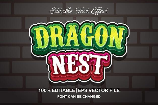 Smocze gniazdo edytowalny efekt tekstowy w stylu 3d