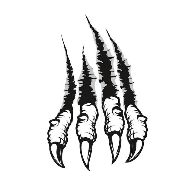 Smocze pazury noszą ślady zadrapań, stwardniałe palce potwora z długimi paznokciami przedzierają się przez ścianę. wektor dzikich zwierząt rips, łapy strzępy, bestia break, cztery szpony ślady lub znaki na białym tle