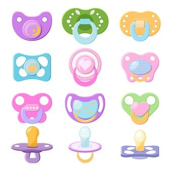 Smoczek smoczek dla niemowląt smoczek dla dzieci i dzieci gumowy sutek ilustracja zestaw pocieszyciel do uspokojenia noworodków na białym tle