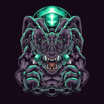 Smoczy potwór w kajdankach