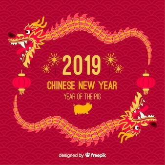 Smok chiński nowy rok tło