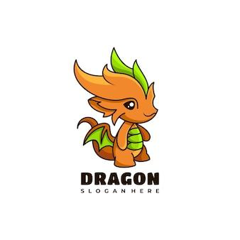 Smok postać maskotka logo projekt ilustracji wektorowych