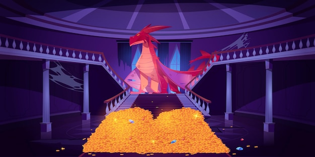 Smok siedzi na stosie złota w zamku, w pałacu strzeże skarbów postaci fantasy.