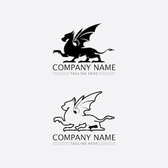 Smok wektor ikona zwierząt fantasy ilustracja projekt logo szablon
