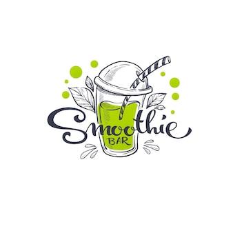 Smoothie bar, szkicowanie ilustracji i ręcznie rysowane kompozycja napisów