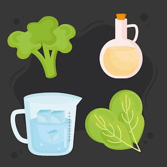 Smoothie cztery ikony zdrowej żywności