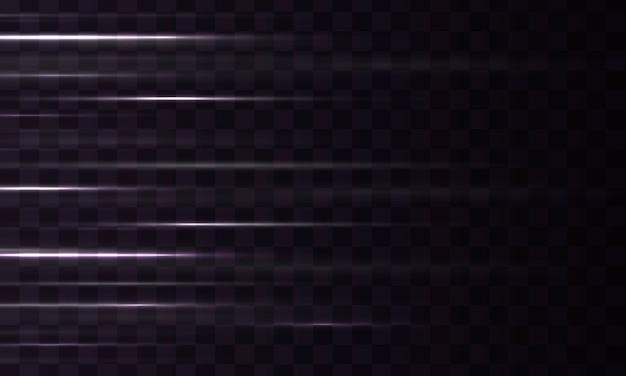 Smuga linii efektu świetlnego. zestaw białych flar do soczewek poziomych. rozbłysk światła, iskra.