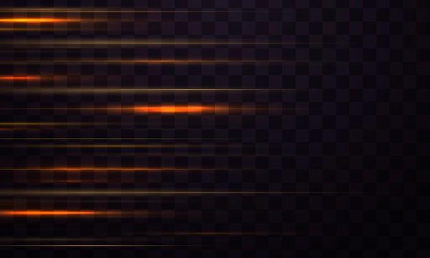 Smuga linii efektu świetlnego. zestaw odblasków w kolorze żółtym do poziomych soczewek. rozbłysk światła, iskra.