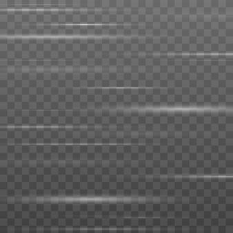 Smuga z efektem świetlnym. zestaw białych flar do obiektywów poziomych. świecące smugi.