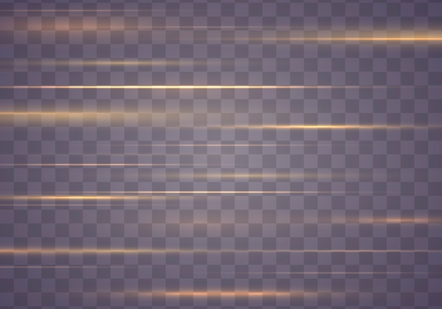 Smuga z efektem świetlnym. zestaw odblasków w żółtych poziomych soczewkach świecące smugi.