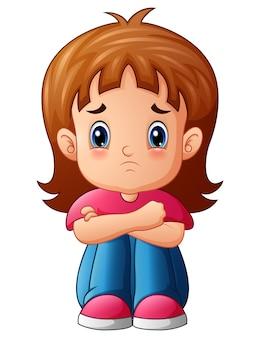 Smutna dziewczyna kreskówka siedzi sama