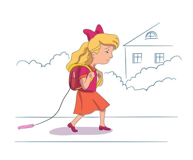 Smutna dziewczynka z plecakiem idzie do szkoły zmęczona uczennica wraca do domu z lekcji