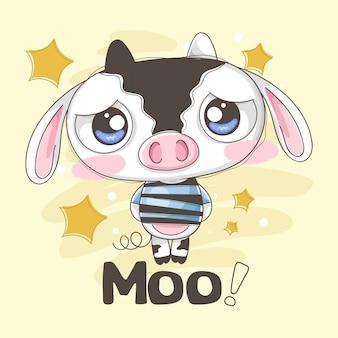 Smutna i delikatna mała krowa z gwiazdami