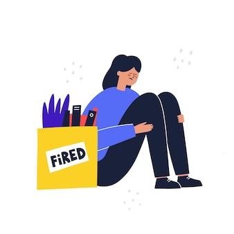 Smutna kobieta siedząca obok pudełka z rzeczami po zwolnieniu. koncepcja pracownika zwolniony. ręcznie rysowane ilustracji wektorowych.