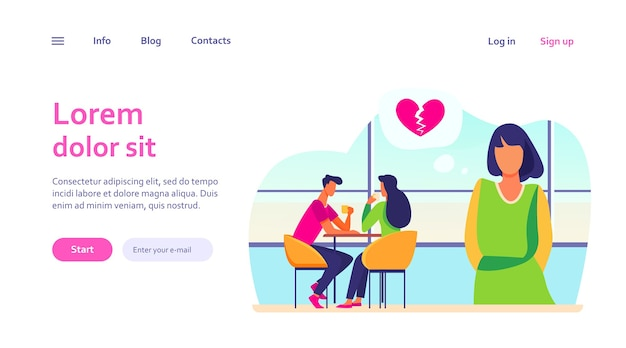 Smutna kobieta stoi blisko szczęśliwej pary ze złamanym sercem. data, dziewczyna, dziewczyna. koncepcja miłości i relacji do projektowania strony internetowej lub strony docelowej