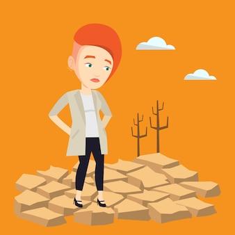 Smutna kobieta w pustynnej wektorowej ilustraci.