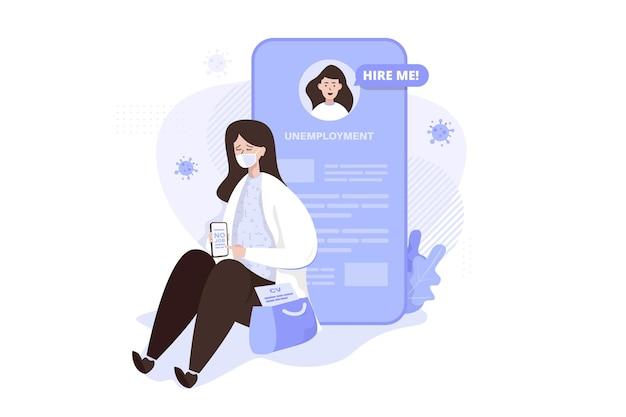 Smutna koncepcja ilustracji bezrobocia kobiety