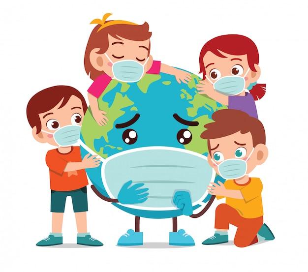 Smutna kreskówka ziemi za pomocą maski z dzieckiem chłopiec i dziewczynka