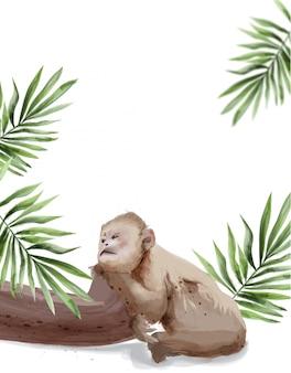 Smutna małpa akwarela