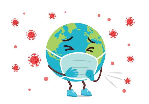 Smutna maskotka kreskówka ziemia zainfekowana wirusem koronowym