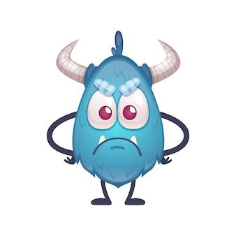 Smutna obrażona bestia niebieskiego koloru z dużymi oczami i rogami ilustracja kreskówka
