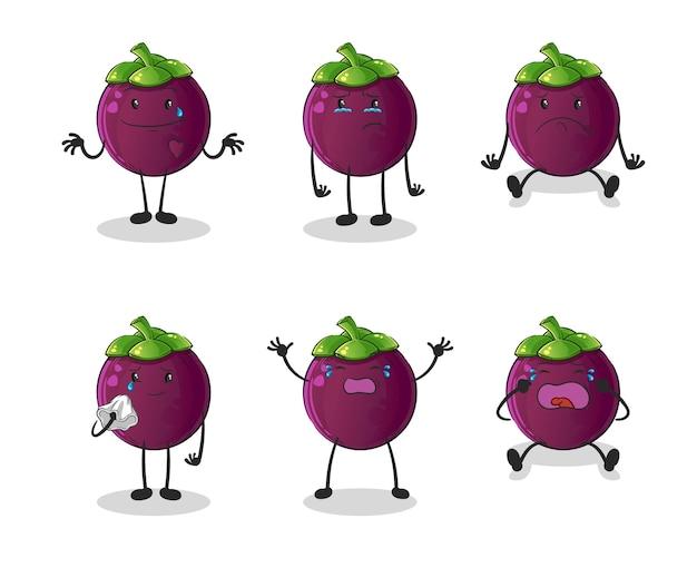 Smutna postać z grupy mangostanów. kreskówka maskotka