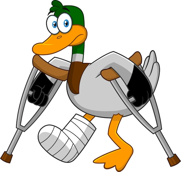Smutna postać z kreskówki kaczka z kulami i otynkowaną nogą. ilustracja
