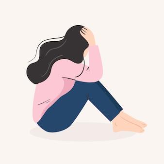 Smutna samotna kobieta. przygnębiona młoda dziewczyna. ilustracji wektorowych w stylu cartoon płaski