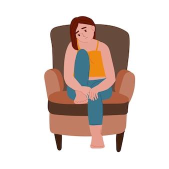 Smutna samotna przygnębiona kobieta siedząca na krześle depresja a zdrowie psychiczne zaburzenia psychiczne