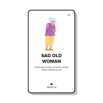 Smutna stara kobieta płacze sama w domu pielęgniarki wektor. niezdrowa smutna staruszka płacze, przygnębiona starsza pani z problemem zdrowotnym. charakter babcia z negatywną emocją web ilustracja kreskówka płaskie