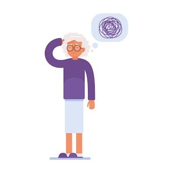 Smutna starsza kobieta ma problemy z pamięcią