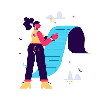 Smutna stylowa biznesowa kobieta trzyma gigantyczną listę zadań, dokument papierowy, rachunek za zakupy, fakturę podatkową. zarządzanie czasem lub koncepcja płatności. niemożliwy plan. ilustracja kreskówka płaski na białym tle