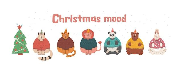 Smutne i zrzędliwe zwierzęta, ale urocze króliczki lew niedźwiedź tygrys kot i panda w świątecznych swetrach