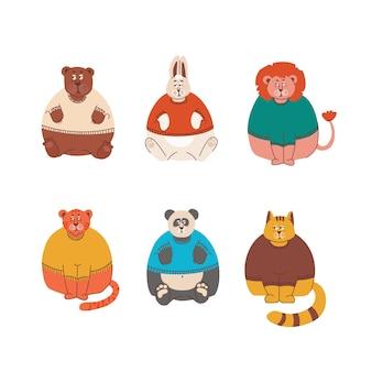 Smutne i zrzędliwe zwierzęta, ale uroczy zając lew niedźwiedź tygrys kot i panda w swetrach