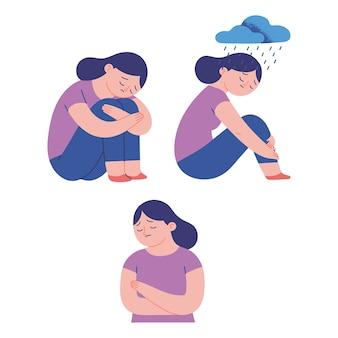 Smutne kobiety ilustracja koncepcja