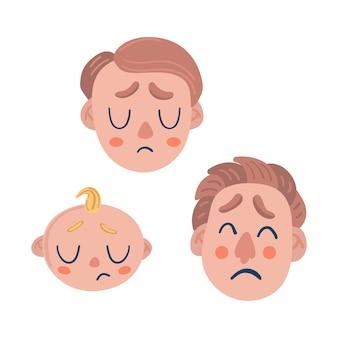 Smutne męskie emocje. noworodek, nastolatek, dorosły. łzy i tęskne głowy.