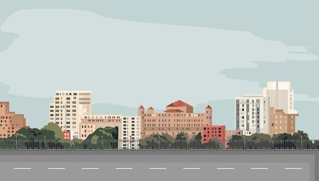 Smutne miasto z pustą drogą na pierwszym planie