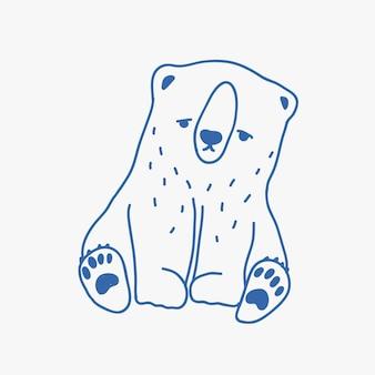 Smutne urocze dziecko niedźwiedź polarny ręcznie rysowane z niebieskimi liniami konturu. ładny rysunek niezadowolony samotny kreskówka mały arctic cub zwierząt na białym tle. ilustracja wektorowa monochromatyczne