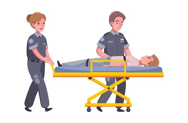 Smutni ratownicy medyczni niosący ranną osobę na kreskówce na noszach