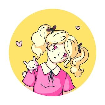 Smutny anime japoński manga avatar dziewczyna na białym tle
