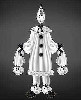 Smutny arlekinowy biały garnitur z czarnymi kokardkami i pomponami, długie rękawy, skręcone buty na palcach, łza