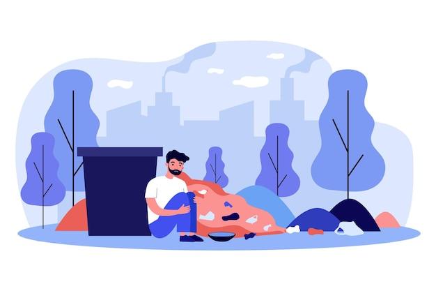 Smutny bezdomny siedzi w pobliżu pojemnika na śmieci. śmieci, gród, ilustracja wektorowa płaski żebrak