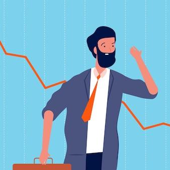 Smutny biznesmen. bankructwo, akcje spadają. płaskie ilustracja kreskówka